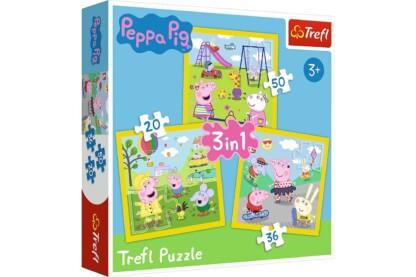 Trefl 34849 - Peppa malac - Játékidő - 3 az 1-ben (20, 36, 50 db-os) puzzle