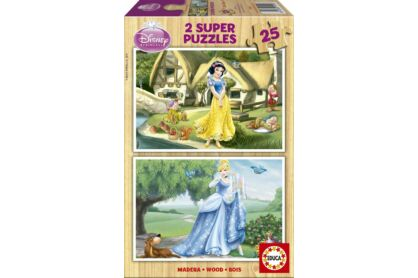 Educa 15591 - Disney Princess - Hófehérke, Hamupipőke - 2 x 50 db-os fa puzzle