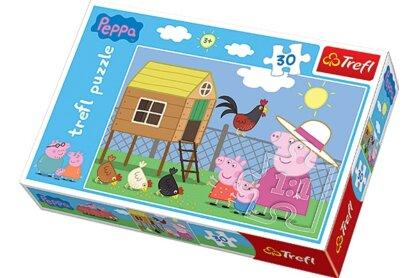 Trefl 18195 - Peppa malac meglátogatja a tyúkólat - 30 db-os puzzle