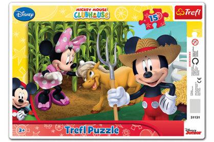 Trefl 31131 - Minni és Mickey vidéken - 15 db-os keretes puzzle