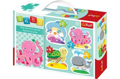 Trefl 36055 - Tengeri állatok - Első Baby puzzle táskában