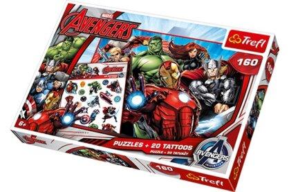 Trefl 90501 - Bosszúállók csapata - 160 db-os puzzle tetoválással