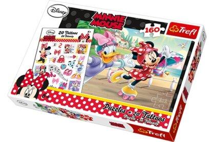 Trefl 90504 - Minnie és Daisy görkorcsolyázik - 160 db-os puzzle tetoválással